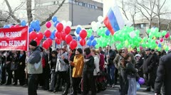 People during the May Day Trade Union demonstration Stock Footage