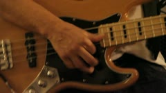 Bass player close up slapping with thumb HD Stock Footage