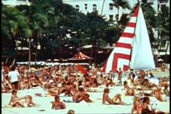 Waikiki, beach, busy, lots of people, medium shot Stock Footage