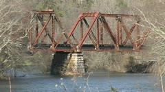 OLD TRESTLE ACROSS RIVER - stock footage