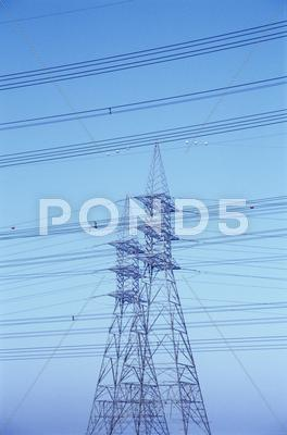 Stock photo of electricity pylons