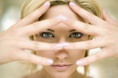 Woman's eyes open Stock Photos