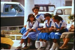 Cartagena, Columbia, medium shot, group of young girls in school uniforms Stock Footage