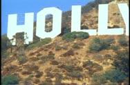 Stock Video Footage of Hollywood sign, close up, zoom out fast to wide shot, classic shot