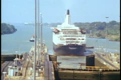 QE2 transit of the Panama Canal, medium zoom wide, QE2 in the Caribbean Stock Footage