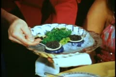 Columbia Dining Room, formal dressed couple, close up serve caviar Stock Footage