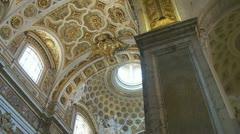 San Luigi dei Francesi ceiling zoom out, Rome Stock Footage