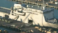 Stock Video Footage of military vehicles loading on ship  timelapse