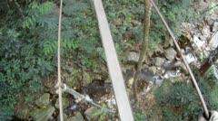 Wood Bridge High Up Stock Footage