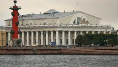 Vasilyevsky Island and Exchange Bridge, close-up Stock Footage