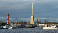 The Peter and Paul Fortress, Rostral Column and Palace Bridge Stock Footage