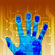 Fingerprint scanner, artwork Stock Illustration