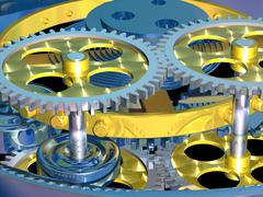 Wristwatch gears and cogs, artwork Stock Illustration