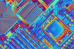 Computer motherboard with core i7 cpu Stock Illustration