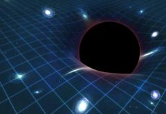 black hole warping space-time, artwork - stock illustration