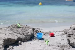 Toys on the beach Stock Footage