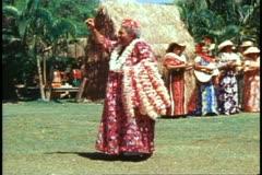 Hula Show by Kodak, medium shot, big mama dancer Stock Footage