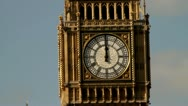 Stock Video Footage of Big Ben clock at noon