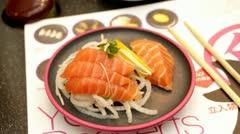 Sushi plate salmon Stock Footage