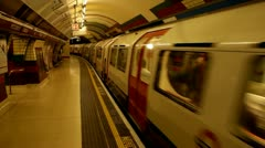 Stock Video Footage of Piccadilly circus station train departing
