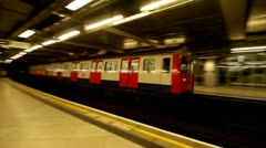 London Underground station train arriving - stock footage