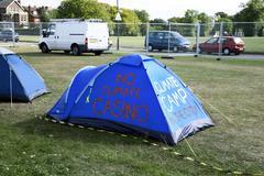 Climate camp Stock Photos