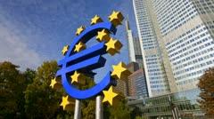 Germany, Frankfurt, T/L Euro sign Stock Footage