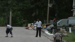INNER CITY KIDS PLAYING STREET HOOPS 4 Stock Footage