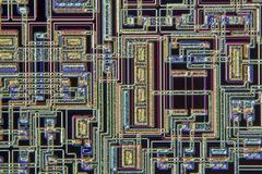 microchip, light micrograph - stock photo