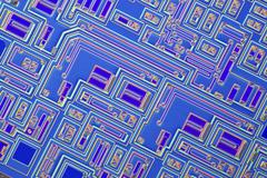 Microchip, light micrograph Stock Photos