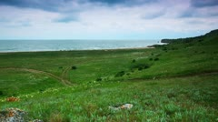 Timelapse. coast of the Kerch Peninsula. Stock Footage