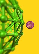 Buckyball molecules, artwork Stock Illustration