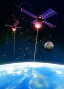 satellite attack, artwork - stock illustration