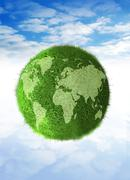 green planet, conceptual artwork - stock illustration