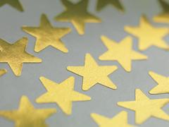 Gold star stickers Stock Photos