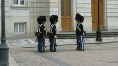 Changing of Denmark's Royal Guard at the Royal Palace Stock Footage