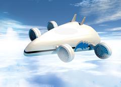 futuristic airship, artwork - stock illustration