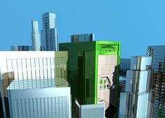 Computer city, conceptual artwork Stock Illustration