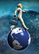 space tourist, conceptual artwork - stock illustration