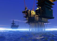 oil rigs, artwork - stock illustration