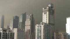 Aerial view of Guangzhou during rain storm, China Stock Footage