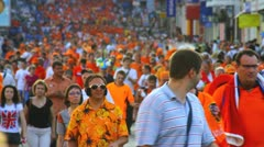 Great fan procession Stock Footage