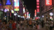 Stock Video Footage of Busy shopping street by night, Shangxiajiu Pedestrian Street, Guangzhou, China