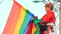 Woman with LGBT flag - stock footage