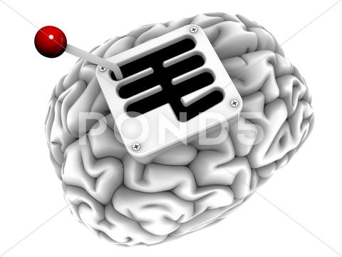 Stock Illustration of brain with gearstick, computer artwork