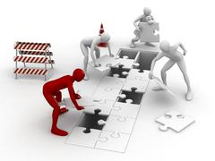Men putting puzzle pieces together Stock Illustration