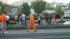 Dutch fans walking Stock Footage