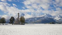Germany, Schwangau, church snow T/L - stock footage