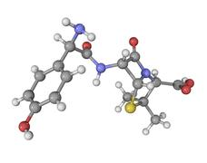 Stock Illustration of amoxicillin antibiotic drug molecule