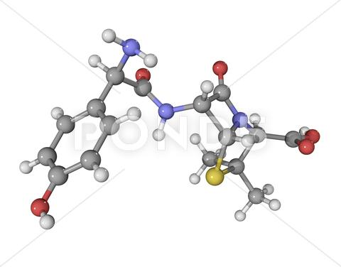 Stock Illustration of amoxicillin antibiotic drug molecule